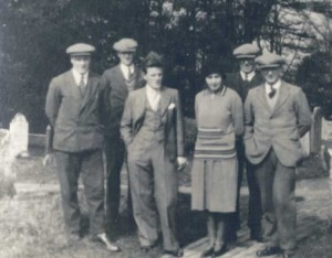 Bell ringers, 31 October 1931, probably taken to celebrate the installation of the sixth (treble) bell. From left to right: Bernard Pankhurst, Charlie Ingram, Stan Denton, Miss Lillian Passingham, Wliiam Card, Bert Stubbings