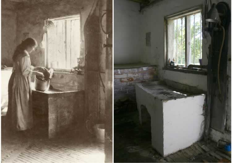 The old photograph shows Gladys Axtell washing milk buckets at the Scullery sink, together with a modern picture taken from approximately the same angle.