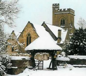 St Mary's Church, Leigh, in the snow. (Photo 1990s)