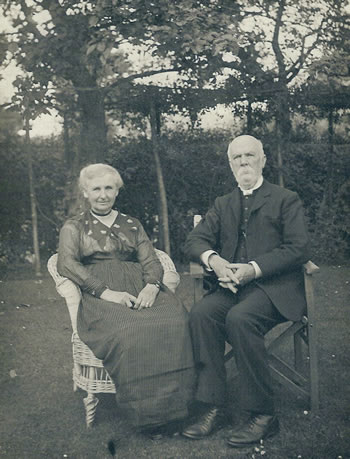 Rev and Mrs Octavius Walton. Photograph from the album of Rev. Octavius Walton (vicar of Leigh 1906-18)