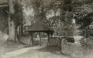 St Mary's Church, lychgate. Photograph from the album of the Rev. Octavius Walton (Vicar of Leigh 1906-18)