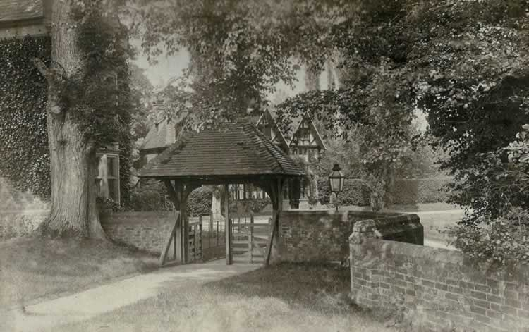 St Mary's Church, lychgate. Photograph from the album of Rev. Octavius Walton (vicar of Leigh 1906-18)