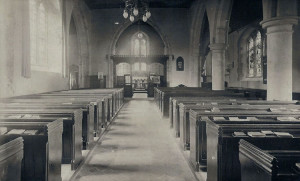 St Mary's Church, interior. Photograph from the album of the Rev. Octavius Walton (Vicar of Leigh 1906-18)
