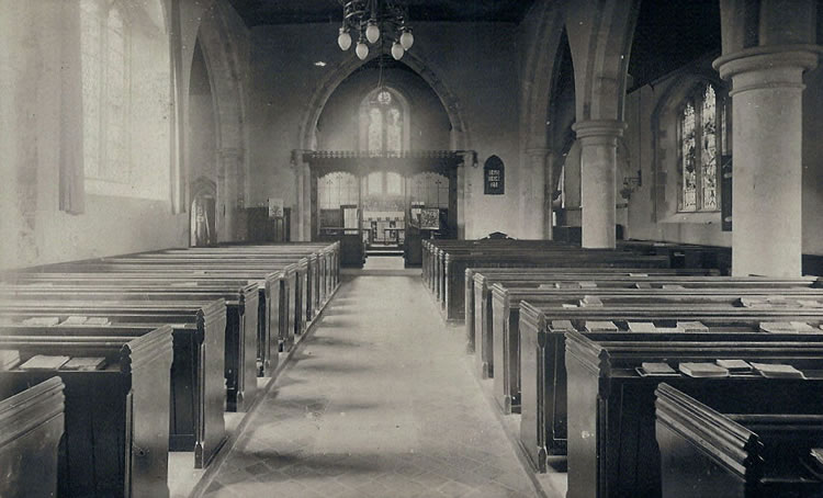 St Mary's Church, interior. Photograph from the album of Rev. Octavius Walton (vicar of Leigh 1906-18)