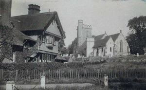 South View House and St Mary's Church. Photograph from the album of the Rev. Octavius Walton (Vicar of Leigh 1906-18)