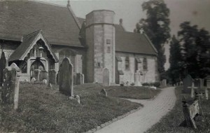 St Mary's Church, south entrance. Photograph from the album of the Rev. Octavius Walton (Vicar of Leigh 1906-18)
