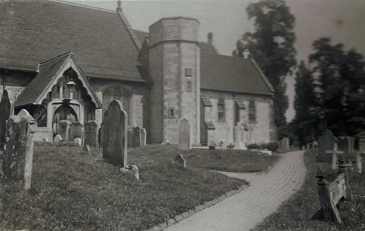 St Mary's Church, south entrance. Photograph from the album of Rev. Octavius Walton (vicar of Leigh 1906-18)
