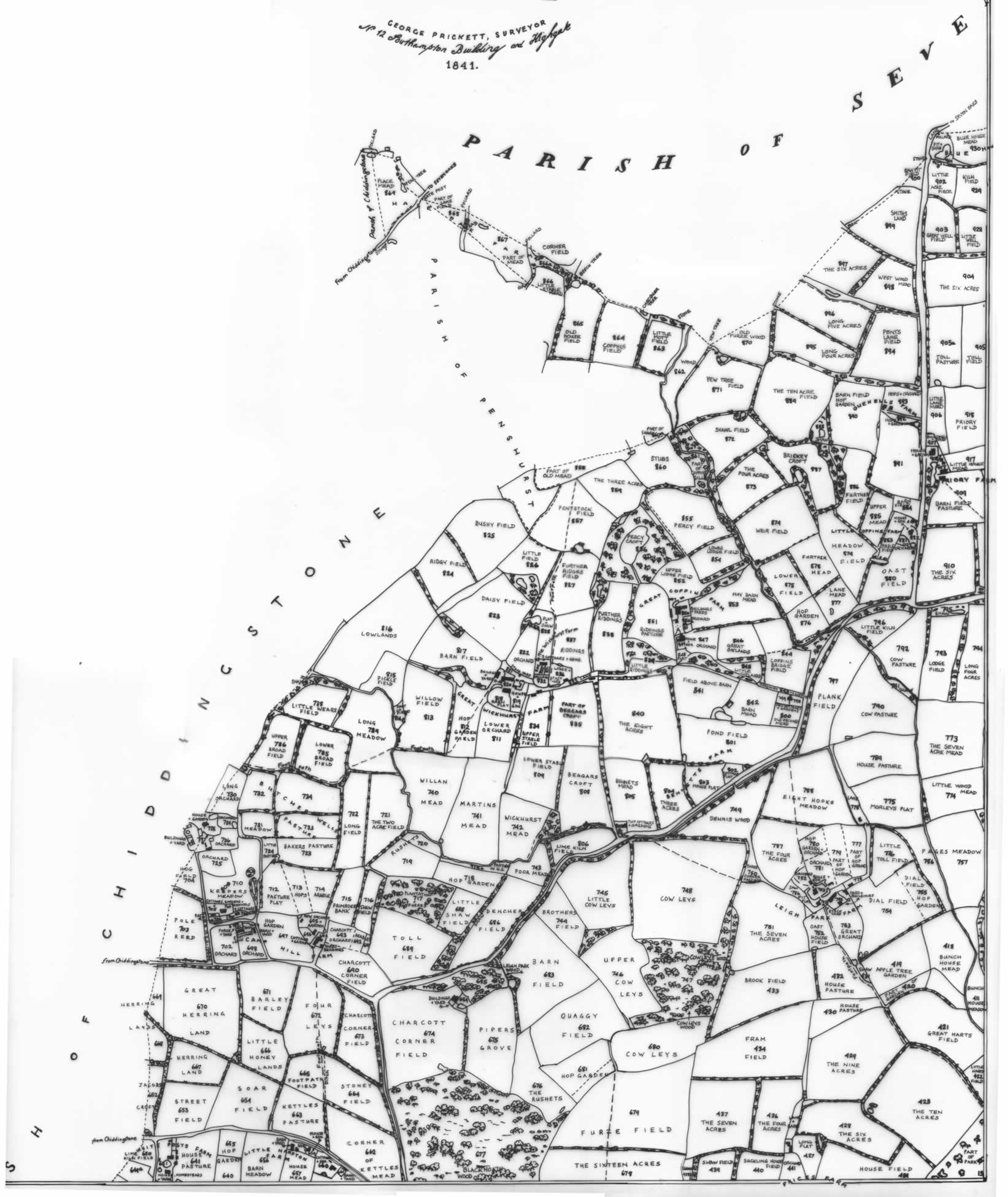 Tithe map, 1841, north-west quarter