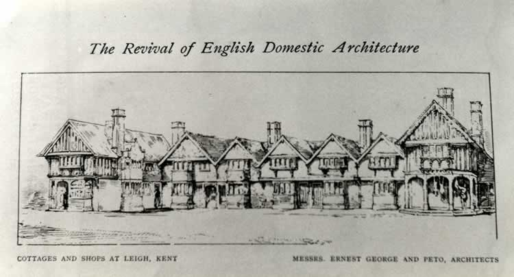 "Illustration in 'The Revival of English Domestic Architecture. IV. The Work of Mr. Ernest George'; The Studio 8 (1896): ""In a row of Cottages, Village Shops, &c., Leigh, Kent, we find a typical group of simple dwellings, welded into a harmonious whole, by no sham façade, but by the arrangement of the larger buildings at each end. In this group the unity of each house is preserved, and yet its individuality is not insisted upon unduly. The recurrent gable imparts a sense of restfulness, without any monotonous feeling of repetition. The sketch does not explain whether the penultimate house at each side is slightly larger than its neighbour; the one to the left undoubtedly is"""
