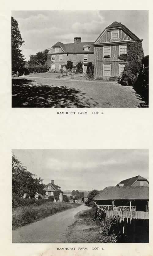 Ramshurst Farm, 1921. Lot 6 in the auction of Penshurst Place Estate