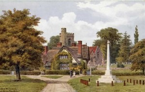 The War Memorial, Leigh, 1920s, with South View and Church . Postcard published by J Salmon, Sevenoaks from an original watercolour by A.R. Quinton.