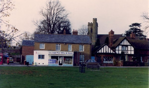Leigh Post Office and Stores, with Butcher's Shop alongside, ca 1970s