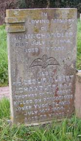 Joan Chandler's gravestone in St Mary's Church, Leigh