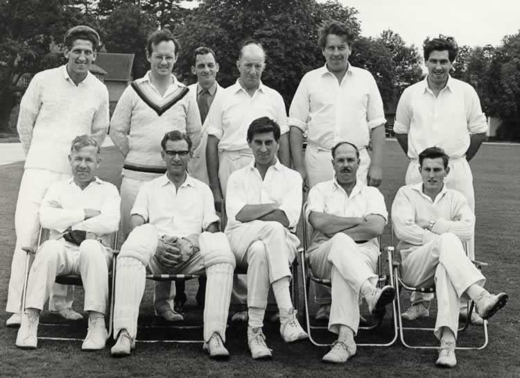 Leigh Cricket Club, 1965. Back Row: Peter Clark, Mike Ludlow, Tony Brooker, Jim Fitzjohn, Peter Gow, John Knock. Front Row: Phil Page, Ray Brooker, Peter Huntley, Eric Batchelor, Derrick Rudd