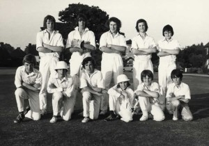 Leigh Cricket Club, Juniors 1973. Back Row: Mervyn Barnes, Paul Roskilly, Trevor Martin, Oliver Gravel, Stephen Young. Front Row: Kevin Jenner, Stephen Holden, Colin Pullen, Brian Martin, Paul Beater, Terry
