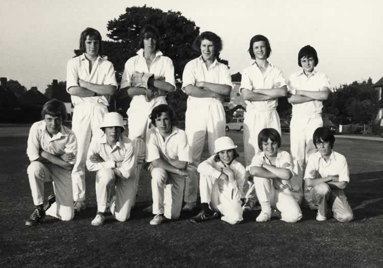 "Leigh Cricket Club, Juniors 1973. Back Row: Mervyn Barnes, Paul Roskilly, Trevor Martin, Oliver Gravel, Stephen Young. Front Row: Kevin Jenner, Stephen Holden, Colin Pullen, Brian Martin, Paul Beater, Terry ""Noddy"" Hallett"