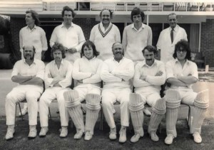 Leigh Cricket Club 1974. Back Row: Nick Taylor, John Knock, David Beater, Clive Harding, Tony Brooker. Front Row: John Batchelor, Keith Dolling, Colin Fry, Eric Batchelor, Vic Clark, Don Fuller