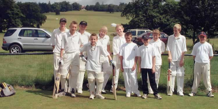 Leigh Cricket Club Juniors, 2002. Back Row: ?, John Solari, Eddie Allwood, Tom Belward, Andrew Massingham, Will Martin, Arun Munday Front Row: Frankie Baker, Jamie McCarthy, Charlie Armstrong, Matthew Coleman