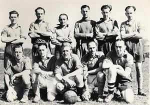 Leigh Football Club, c. 1947. Back Row: Howard Fairclough, E Stalton, Sid Lucas, Ray Brooker, Jim Fitzjohn, Albert Hewitt Front Row: ?, George Healey, R Baker, Eric Batchelor, H Spencely