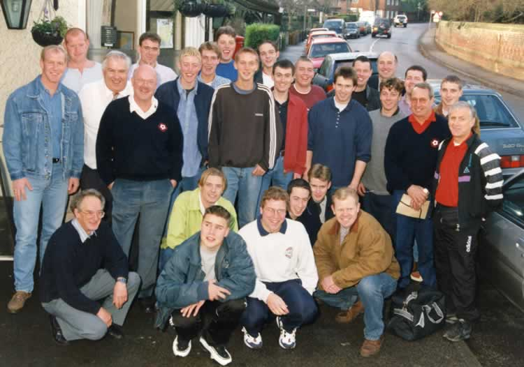 Leigh Football Club, 1997. Centenary Tour Party to Spain organised by Colin Fry and John Batchelor outside the Bat & Ball