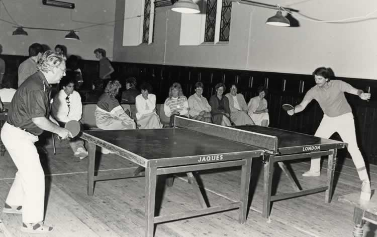Leigh RBL Table Tennis Club playing Dordrecht (Netherlands) in Leigh Large Village Hall 1988