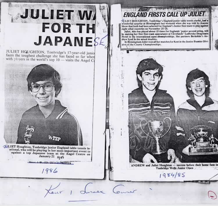 Juliet and Andrew Houghton playing table tennis for England v Japan, 21 January 1986