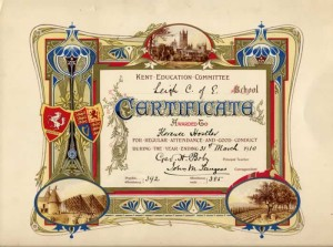 Certificate awarded to Florence Hostler 1910 for attendance at Leigh Cof E School
