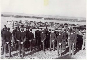 Airmen on parade at Penshurst Airfield during the Second World War
