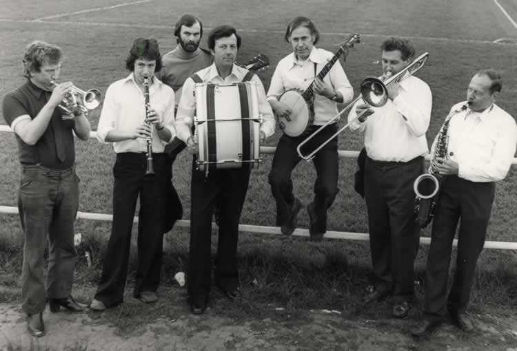 Village Green Stompers Jazz Band playing at the football cup final, Tonbridge Angels ground, May 1978