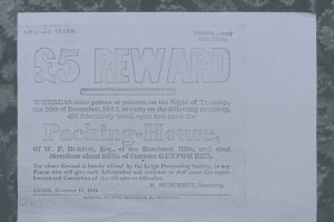 Copy of reward poster for stolen gunpowder, 1844 .