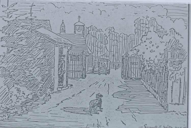 Drawing of entrance to Powder Mills.