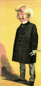 Caricature (1872) of Samuel Morley M.P. Born 1809, son of the founder of I&R Morley. Bought Hall Place estate and many of the houses in Leigh in 1870. Died 1886.