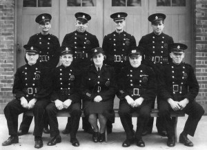 Leigh Fire Brigade, circa 1947  Back Row (L to R): Fred Holden, Arthur Hall, Charlie Ingram, Fred Faulty Front Row (L to R): Bert Stubbins, Bill Fairclough, Lil Pankhurst, Bernard Pankhurst, Bill Sellings