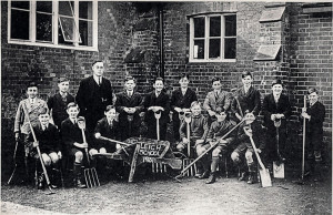 School gardening : Back row: C. Dyson  H. Lucas  W. Gibbons (Headmaster),  A. Denton,  F. Clark,  K. Frost,  L. Lucas  A. Humphery,  S. Clifton,  G. Nixon  Front row: G. Hitchcock,  F. Older,  D. Jenner,  F. Selden,  R. Brooker,  V. Fry