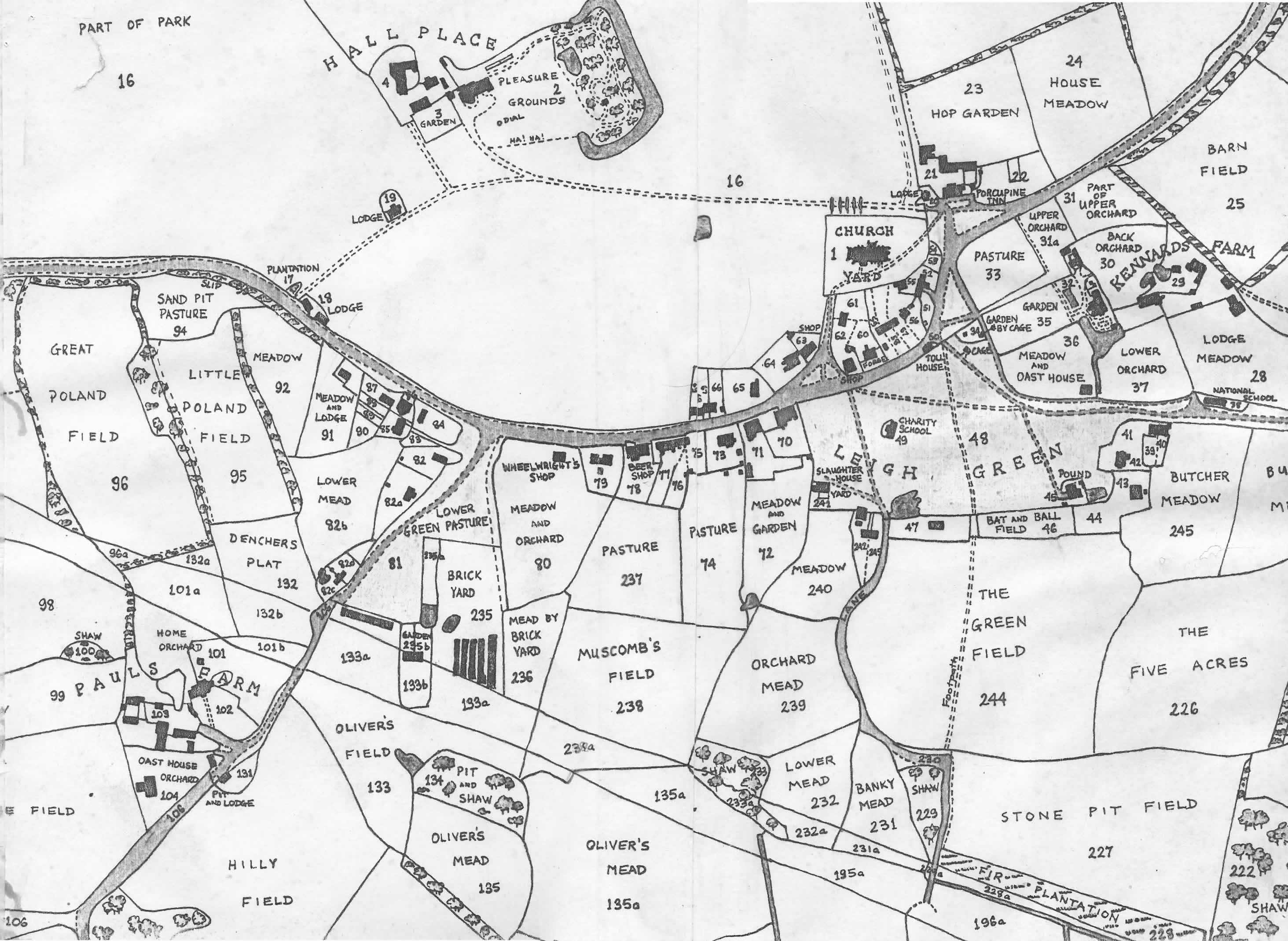 Tithe Map, 184. Central section of Parish around Hall Place