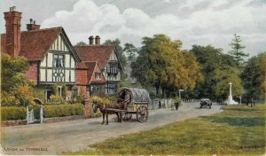 Forge House, No 1 Forge Square and the War Memorial 1920s. Postcard published by J Salmon, Sevenoaks from an original