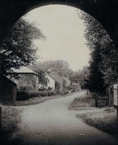 Lower Green through the Railway Bridge. Photograph from the album of the Rev. Octavius Walton (Vicar of Leigh 1906-18)