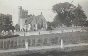 St. Mary's with the two cottages knocked down. Photograph from the album of the Rev. Octavius Walton (Vicar of Leigh 1906-18)