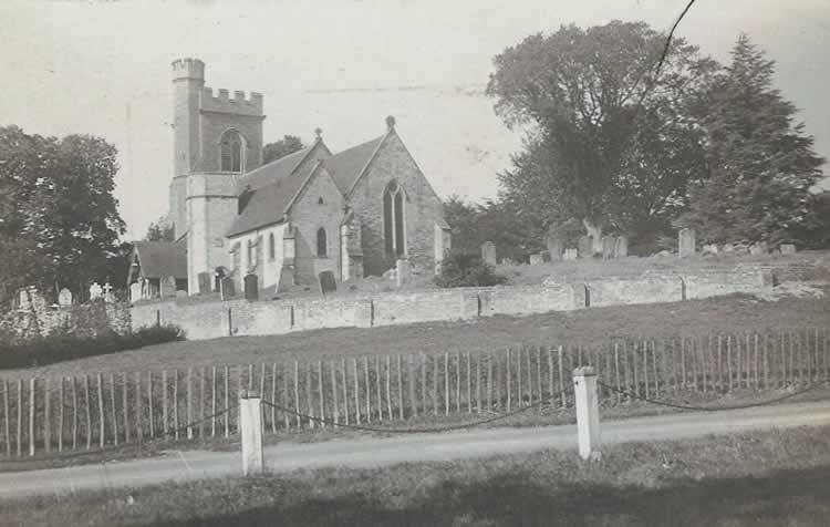 St. Mary's with the two cottages knocked down. Photograph from the album of Rev. Octavius Walton (vicar of Leigh 1906-18)