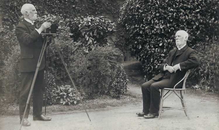 Rev. Octavius Walton photographing himself. Early trick photography. Photograph from the album of Rev. Octavius Walton (vicar of Leigh 1906-18)