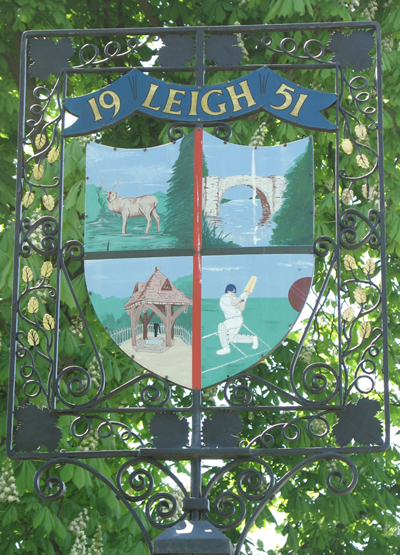 Leigh village sign. Photo © Louise and Colin English. All rights reserved.