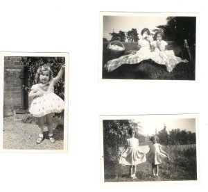 Sue is the single child in the first picture. In the other two photos, Sue Stevens is the younger child; Sally Haslem the older child.