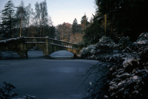 Bridge over Hall Place Lake in Winter
