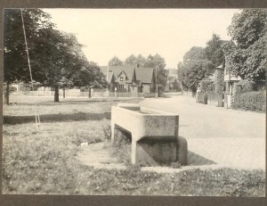 Trough at corner of village green.  School in distance; Forge Cottage on right.  Note no walkway/pavement around the Green. No vehicles.  Date: ?pre-WW1