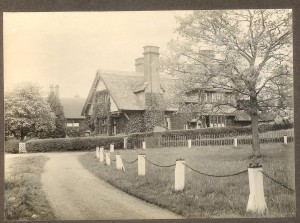 Towards South View from the Old Vicarage.  House still thatched.  Pre-1920.