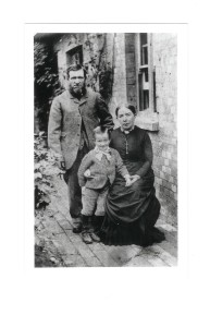 Leigh ca. 1890: James and Susan Fitzjohn with son Frederick born June 1883: taken at 1 Park Cottages, Leigh.