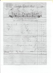 Receipt from Frank East of Tonbridge of purchases by Susan Fitzjohn (1901