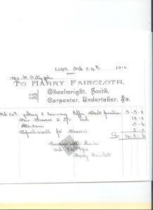 Harry Faircloth's Receipt in respect of burial of James Fitzjohn 1910