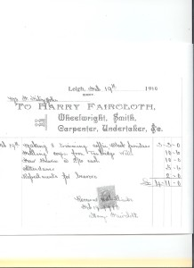 Harry Faircloth's Receipt for Burial of Susan Fitzjohn 1910.