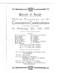 1937 Leigh Coronation Programme - front page